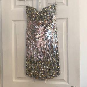 Sherri Hill short silver sequin dress in size 0
